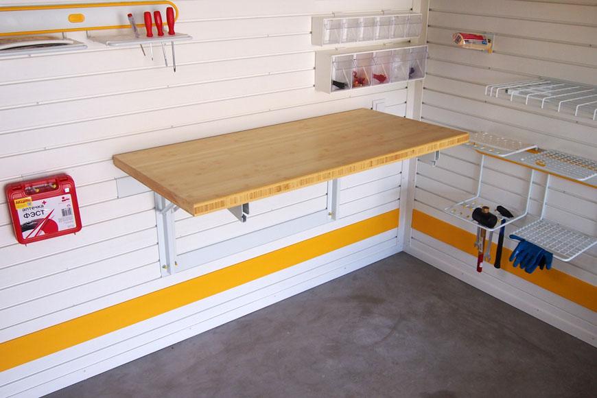 Проект обустройства мастерской с верстаком в гараже.
