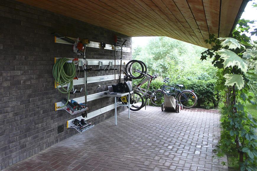 Проект гаража с навесом для автомобиля