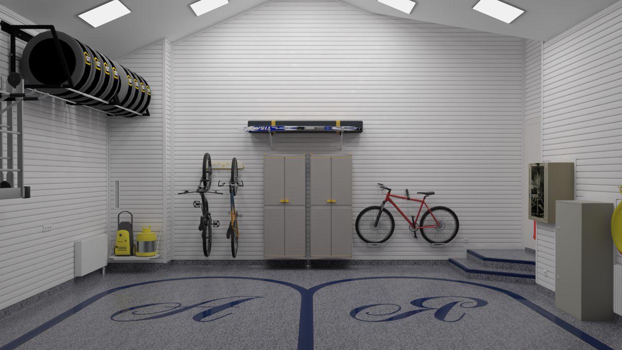 Художественное оформление пола в гараже на 2 машины