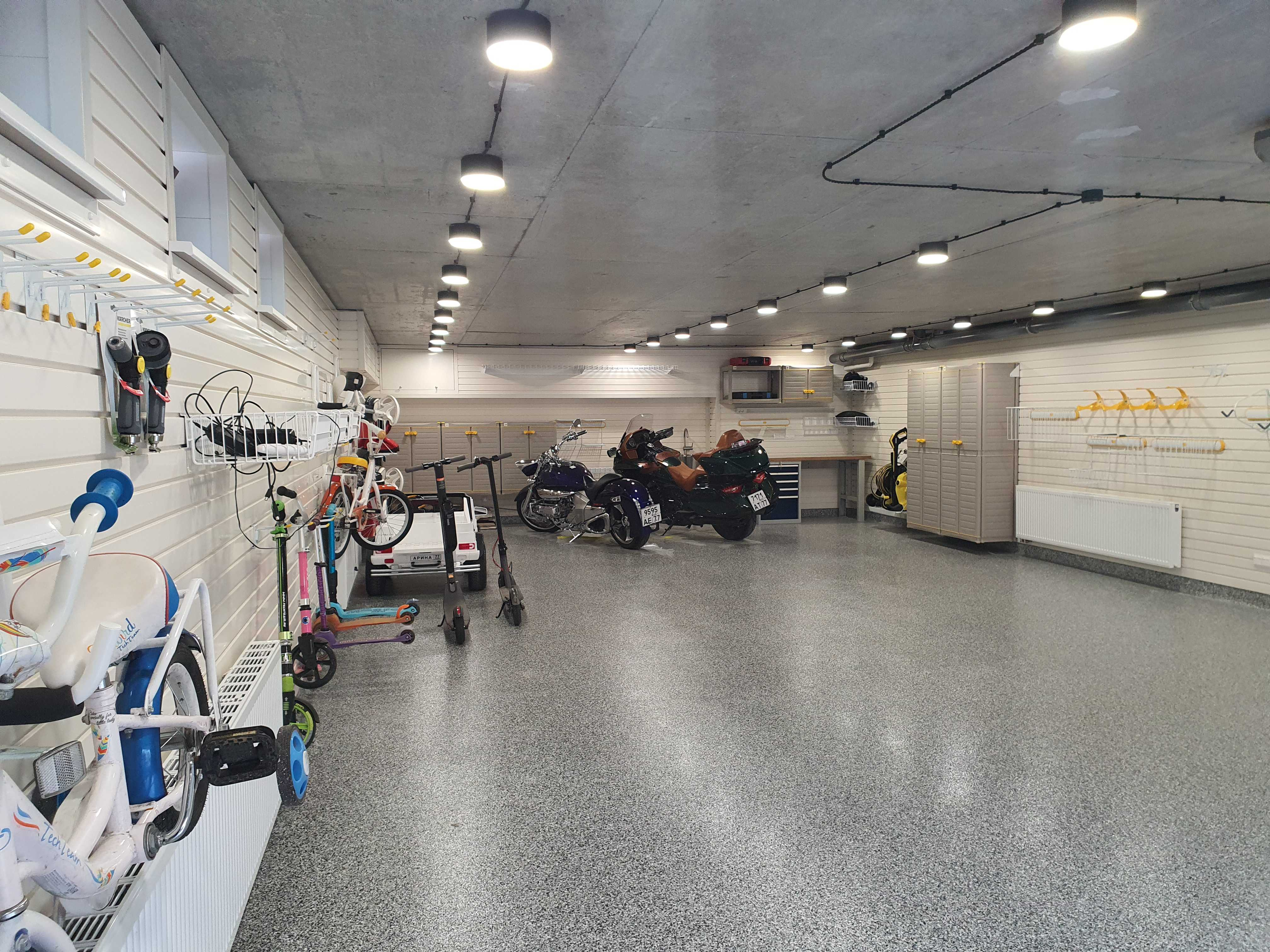 Обустройство под ключ большого гаража в таунхаусе