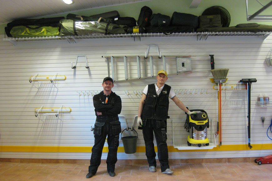 Система хранения на панелях TekPanels в гараже с отделкой